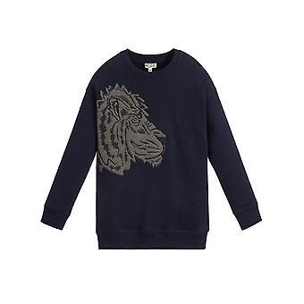 Kenzo Kids Side Tiger Logo Navy Blue Sweatshirt