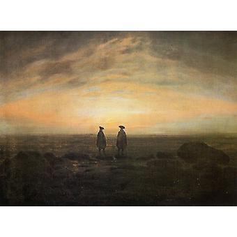 C. D. Friedrich Kunstdruck  Zwei Männer am Meer bei Mondaufgang