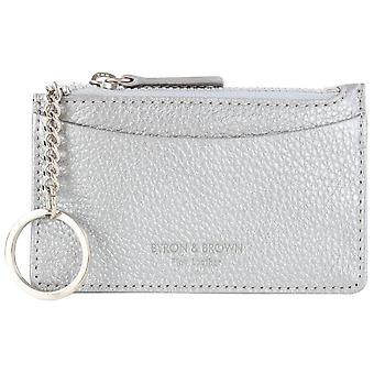 Byron and Brown Roma Leather Credit Card Key Pouch - Silver
