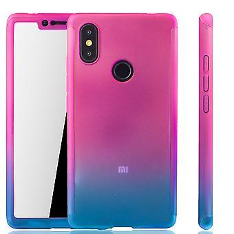 Xiaomi MI 8 SE mobila case skydd-fall full tank skydd skyddsglaset rosa / blå
