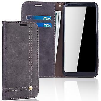 Handy Hülle Schutz Tasche für Samsung Galaxy S9+ Cover Wallet Etui Grau