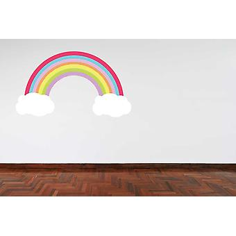 Full Colour Pastel Colour Rainbow and Clouds Wall Sticker