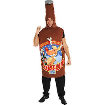 Mens Rudolph rode neus Reinbeer Giant nieuwigheid bierfles fancy dress kostuum