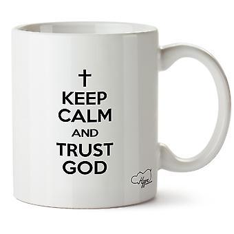 Hippowarehouse Zachowaj spokój i zaufanie Bogu drukowanych Kubek Kubek ceramiczny 10oz