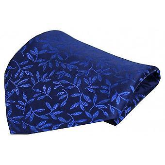 David Van Hagen Leaf Pattern fazzoletto di seta - blu reale
