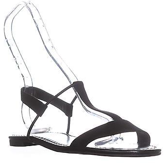 Tyyli & Co. SC35 Kristee tasainen nilkka hihna sandaalit, musta/vanha kulta