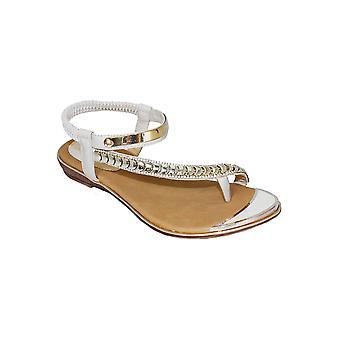 JLH753 Asie dames Diamante asymétrique sangle extensible vacances Fashion sandales