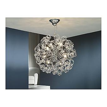Schuller Art déco Chrome suspendus pendentif lumineux en plafond cristal