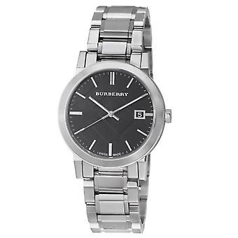 Burberry Bu9001 Gents silver Tone stål svart ansikte arm band Watch