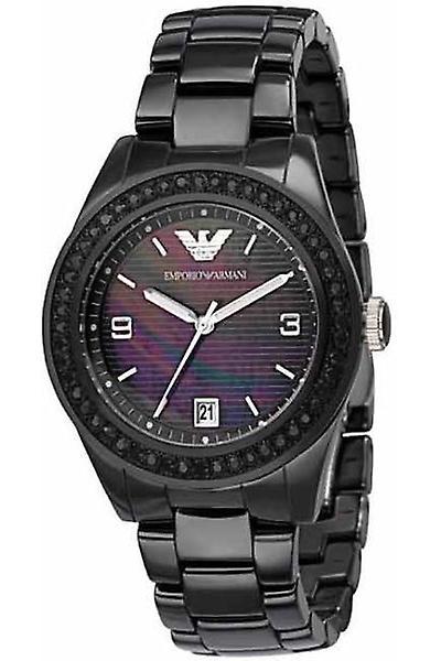 Emporio Armani Watches Ar1423 Ladies Ceramica All Black Crystals Watch