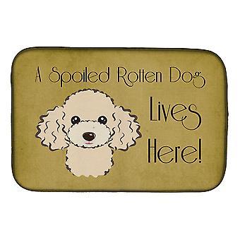 Buff Villa koira pilaantunut koira asuu täällä lautasen kuivaus matto