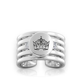 Los Angeles Kings Engraved Sterling Silver Diamond Multiband Cuff Ring