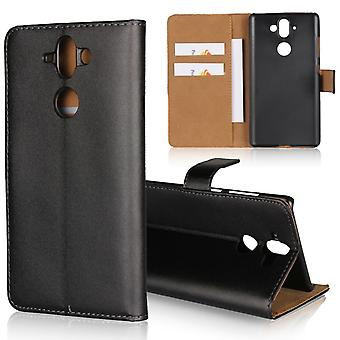 Wallet Case Nokia 9, genuine leather, black
