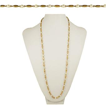 Eternal Collection Indulgence 36 Inch Gold Tone And Faux Pearl Necklace