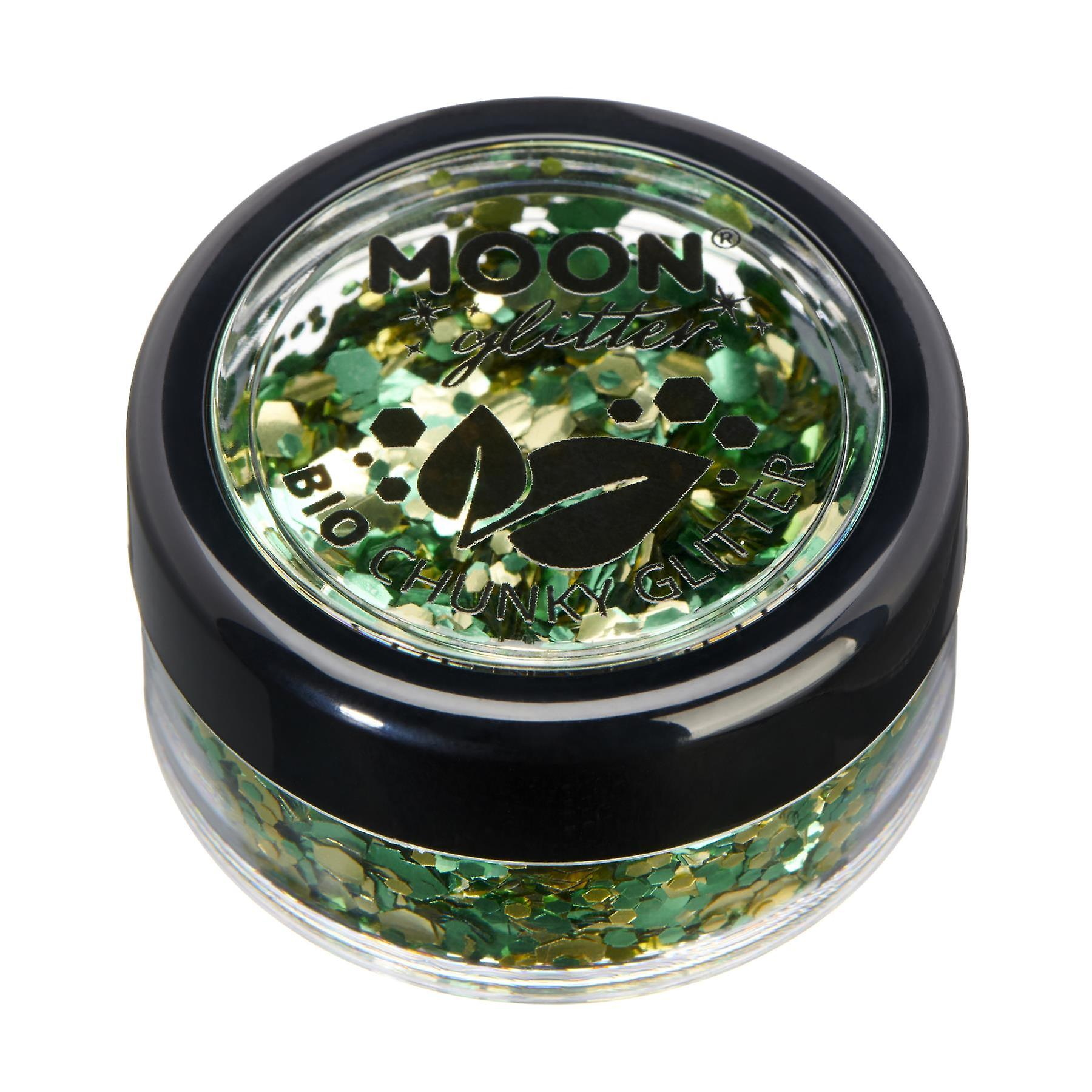 Mystic Bio Biodegradable Eco Chunky Glitter by Moon Glitter - 100% Cosmetic Bio Glitter for Face, Body, Nails, Hair and Lips - 3g - Shamrock