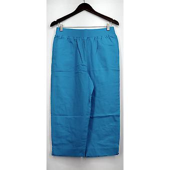 Susan Graver Pantalones Gauze Pull-on Capris w / Cintura acanalada Aqua Blue A224548