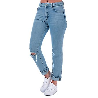 Womens French Connection High Rise Straight Jeans In Ripped Bleach