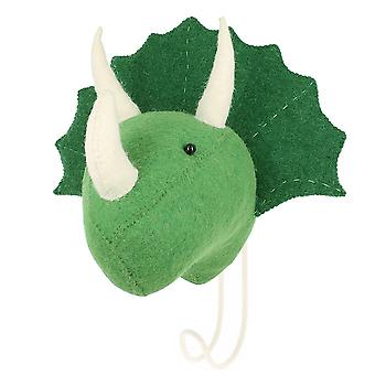 Fiona Walker England Big Felt Cream Triceratops Head Coat Hook