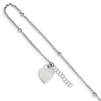 925 Sterling Silver Fancy Lobster Closure Polished Bead and Heart With 1inch Ext. Anklet 9 Inch Jewelry Gifts for Women