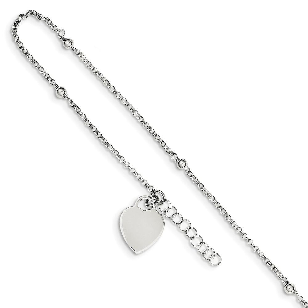 Anklet Sterling Silver 9 Polished Heart w// 1in ext