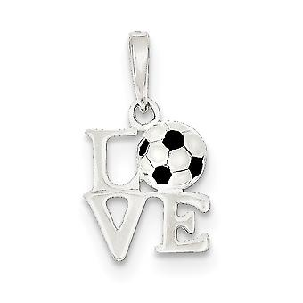 925 Sterling Silver Polished Enamel Love Soccer Pendant Necklace Jewelry Gifts for Women - 1.0 Grams
