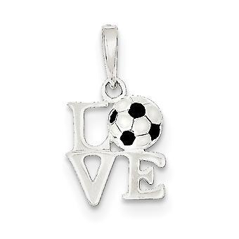 925 sterling sølv polert emalje kjærlighet fotball anheng halskjede smykker gaver til kvinner - 1,0 gram