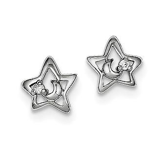 925 Sterling Argent Solide Solid Rhodium plaqué Rhodium Plaqué CZ Cubic Zirconia Simulated Diamond Star and Celestial