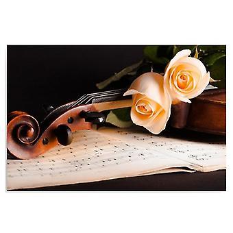 Canvas, foto op doek, rozen op viool