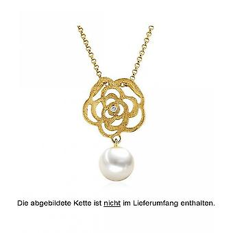 Luna-Pearls Pearl Pendant Freshwater Pearl 7-7.5mm 585/-Yellow Gold Brilliant 0.02ct. 3001224