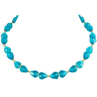 Eternal Collection Sophistication Turquoise Crystal Gold Tone Necklace