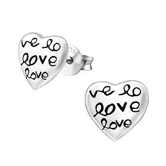 Heart Love - 925 Sterling Silver Plain Ear Studs - W14818x