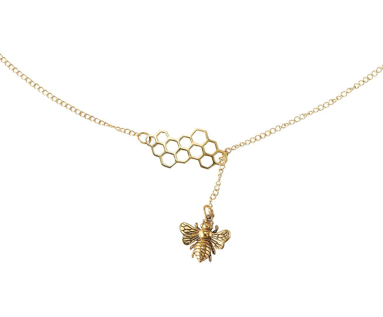 Gemshine BIENE Y-Halskette Wabe Panel Anhänger 925 Silber, vergoldet oder rose