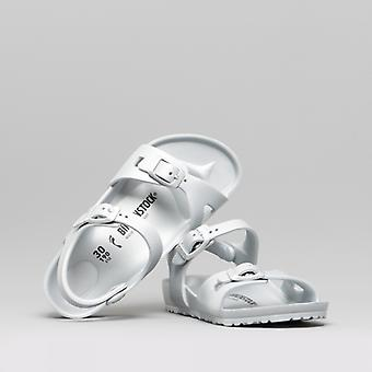 Birkenstock Rio 1003533 (nar) Kids Eva Two Strap Sandals Metallic Silver