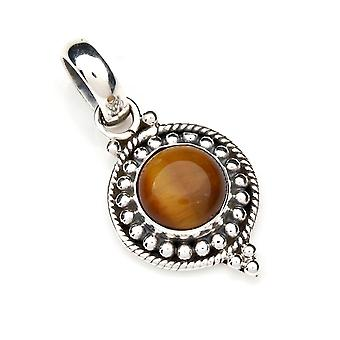 Tiger Eye hanger 925 sterling zilveren ketting hanger medaillon Brown (127-18)