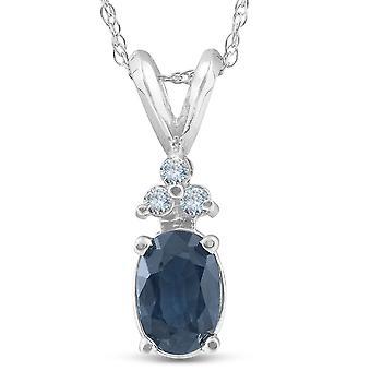 1/2ct Blue Sapphire Oval Shape & Diamond Pendant 14K White Gold