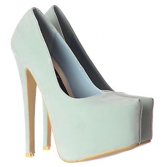 Onlineshoe High Heel Stiletto Concealed Platform Party Shoes - Mint Suede
