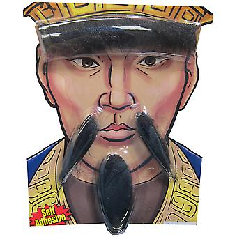 Confucius Ancient Asian China Emperor Men Costume Eyebrow Moustache Goatee