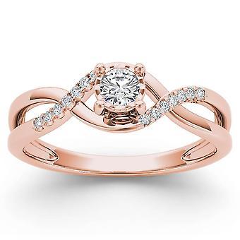 Igi certifierad 10k steg guld 0,05 ct diamant kors och tvär mode förlovningsring