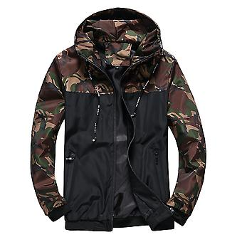 Allthemen Men's Casual Fashionable Hooded Color-blocked Jacket Top