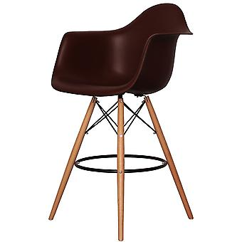 Charles Eames Style Coffee Brown Plastic Bar Stool With Arms
