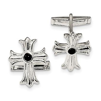 18.3mm 925 Sterling Silver Simulated Onyx Cross Cuff Links Jewelry Gifts for Men