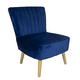 Charles Bentley Velvet Luxury Cocktail Occasion Scalloped Accent Lounge/Bedroom/Dressing Room Chair with Solid Wood Legs Navy