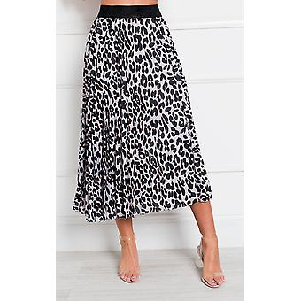 IKRUSH Womens Aria Pleated Animal Print Midi Skirt