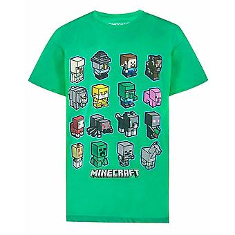 Minecraft Boys T-shirt Mini Mob Kids Green Short Sleeve Top