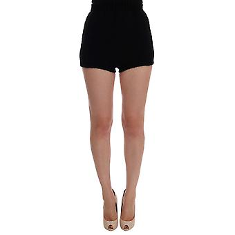 Dolce & Gabbana Black Alpaca Wool Mini Hot Pants