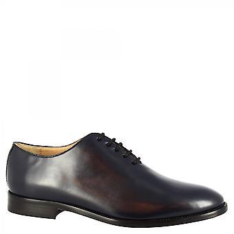 Leonardo Shoes Men's handmade wholecut oxford shoes dark blue shiny calf leather
