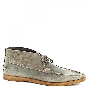 Leonardo Shoes Men's handmade lace-ups chukka boots in gray suede leather