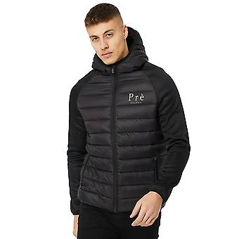 Pre London | Gaston Hybrid Raglan Padded Puffer Hood Jacket - Black
