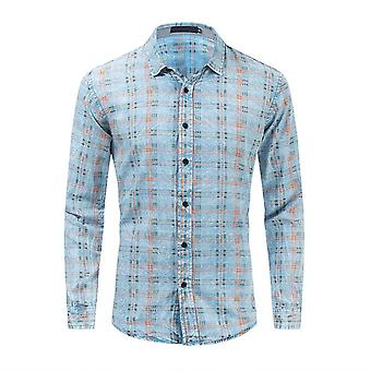 Allthemen Men's Button Down Shirt Loose Fit Blue Long Sleeve Denim Blouse