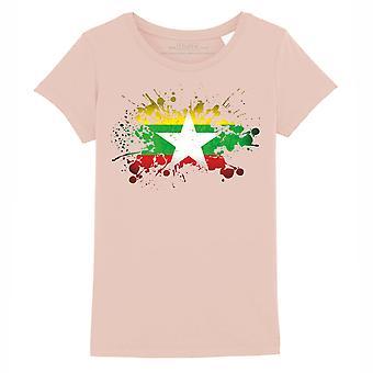 STUFF4 Girl's Round Neck T-Shirt/Burma/Burmese Flag Splat/Coral Pink